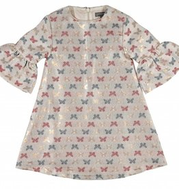 pompomme GIRL DRESS WITH BUTTERFLIES BEIGE/MULTI-COLOR