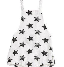 pompomme BABY STAR PRINT ROMPER WHITE/BLACK