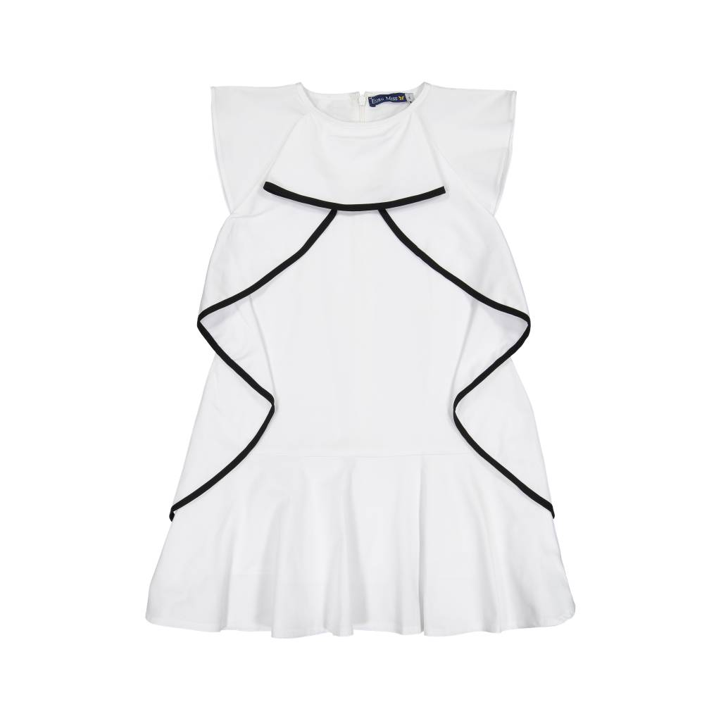 EURO CLUB COLLECTIONS SLEEVELESS DRESS WITH RUFFELED WHITE