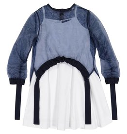 EURO CLUB COLLECTIONS DRESS WITH SHEER TOP COMBO NAVY
