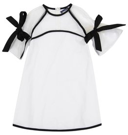 EURO CLUB COLLECTIONS DRESS WITH BOW DETAIL ON SLEEVE WHITE