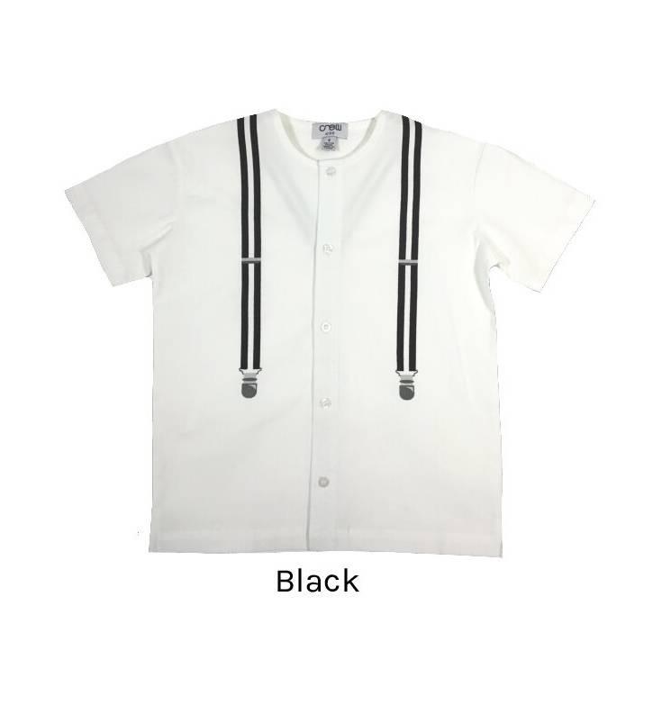 Crew Kids Suspender Shirt Black
