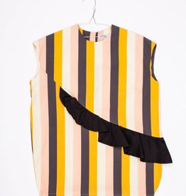 MOTORETA PAULA DRESS Multicolor stripes/black