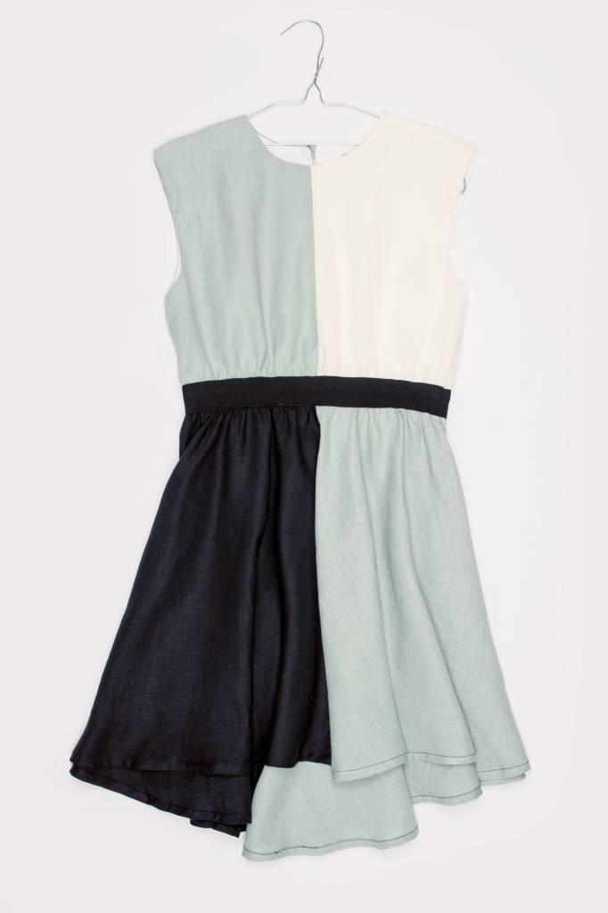 MOTORETA JULIETA DRESS Water green/white/black