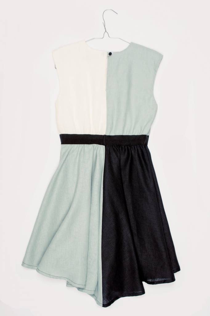 MOTORETA JULIETA DRESS Water green/white/black