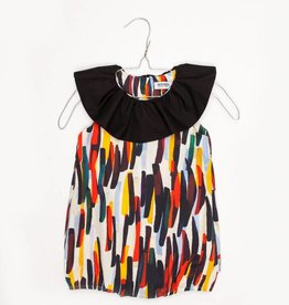 MOTORETA RUFFLED JUMPSUIT Colour strokes print & black