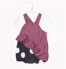 MOTORETA ASSYMETRICAL RUFFLED BODYSUIT Polka dots blue black & burgundy