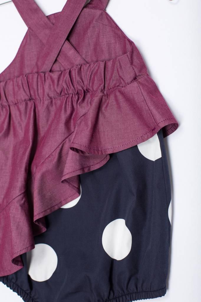 MOTORETA ASSYMETRICAL RUFFLED BODYSUIT Polka dots blue black & burgundy