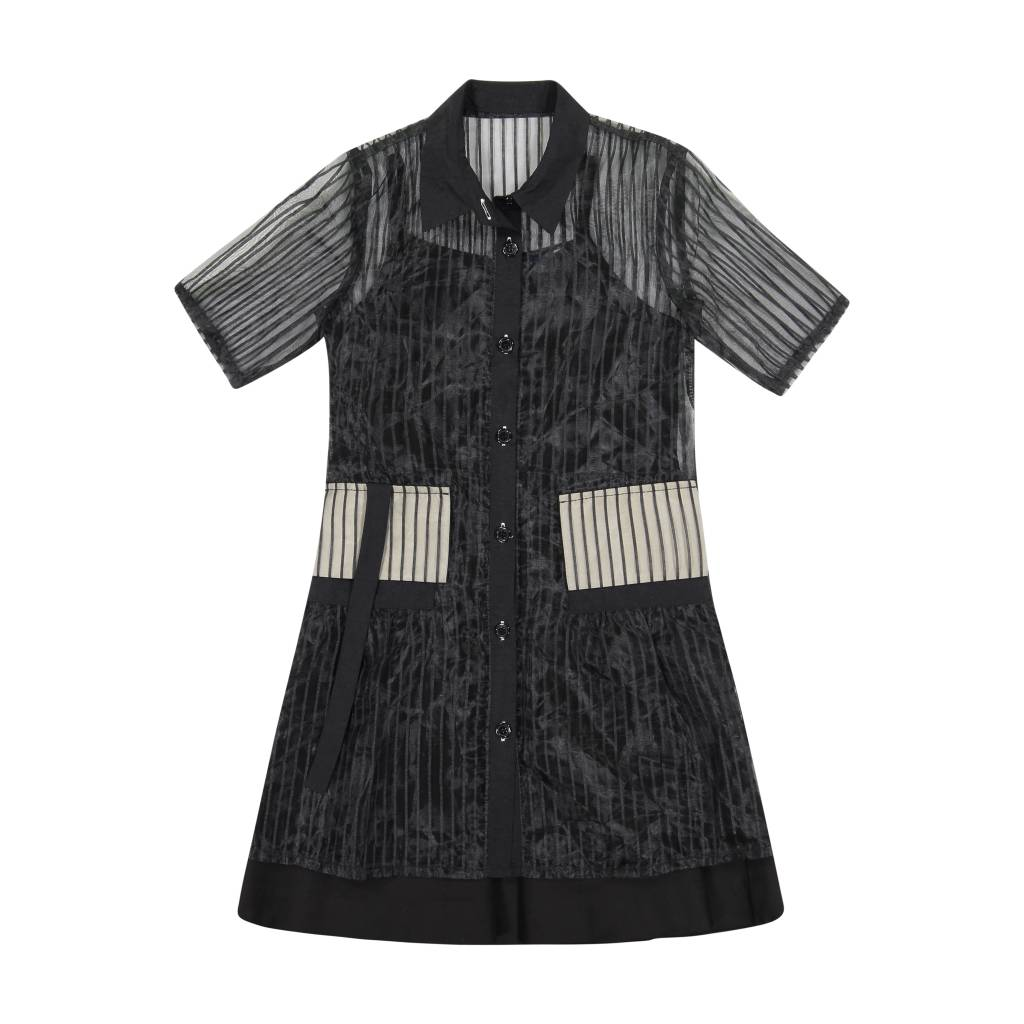 Belati COLLARED DRESS WITH SHEER AND BLACK