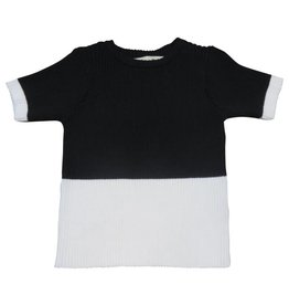 Nove RIBBED 2 LAYERS CREW NECK Black