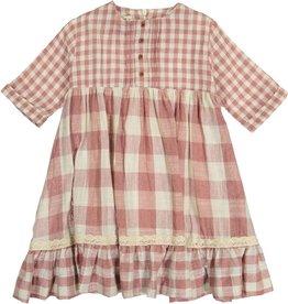 Teela RIA Priarie Ruffle Square Print Dress Mauve