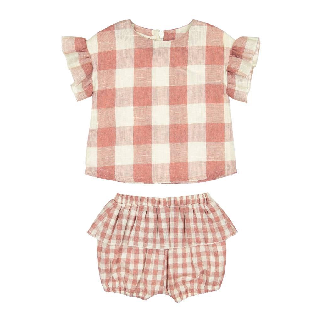 Teela JOY Square Print Baby Set Mauve