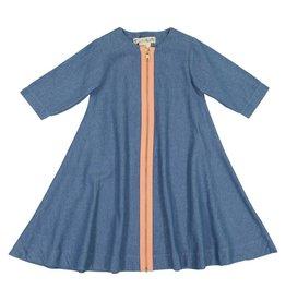 Teela DENIM ZIPPER Swing Dress Medium Denim