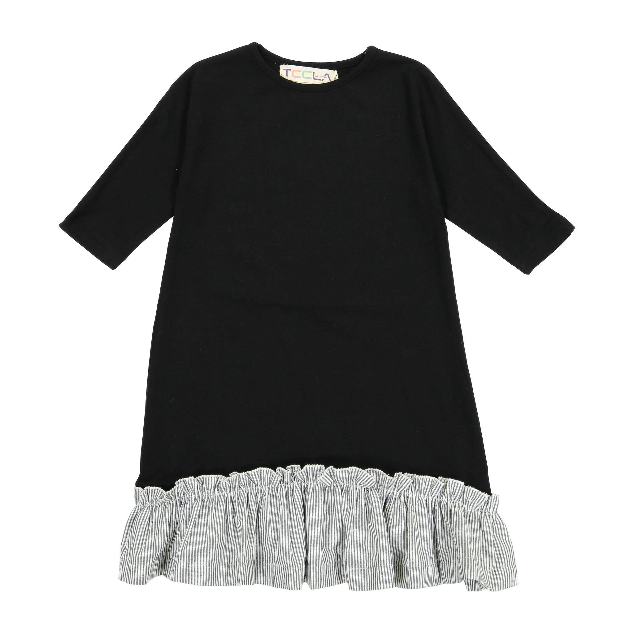 Teela BOTTOM RUFFLE Pinstripe Dress Black