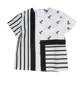 pompomme BOY PRINT BLOCK SHIRT WHITE/BLACK