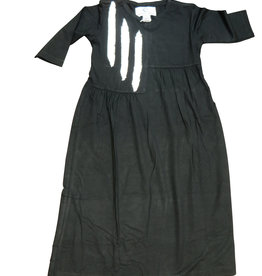 Whitlow & Hawkins MAXI BRUSHSTROKE DRESS BLK/WT