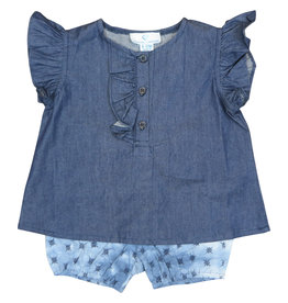 Whitlow & Hawkins DENIM TYE DYE BABY GIRL SET