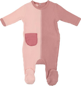 Mon Tresor Bebe J'adore Colors Footie Rose Tan and Pimrose Pink