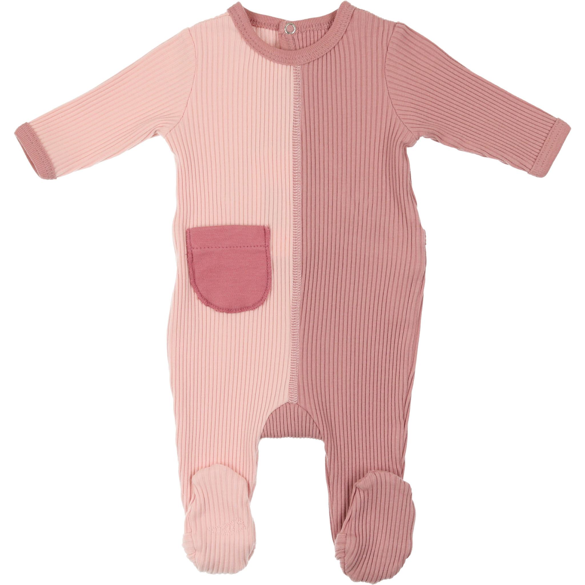Mon Tresor Bebe J'adore Colors Footie Rose Tan and Pimrose Pink