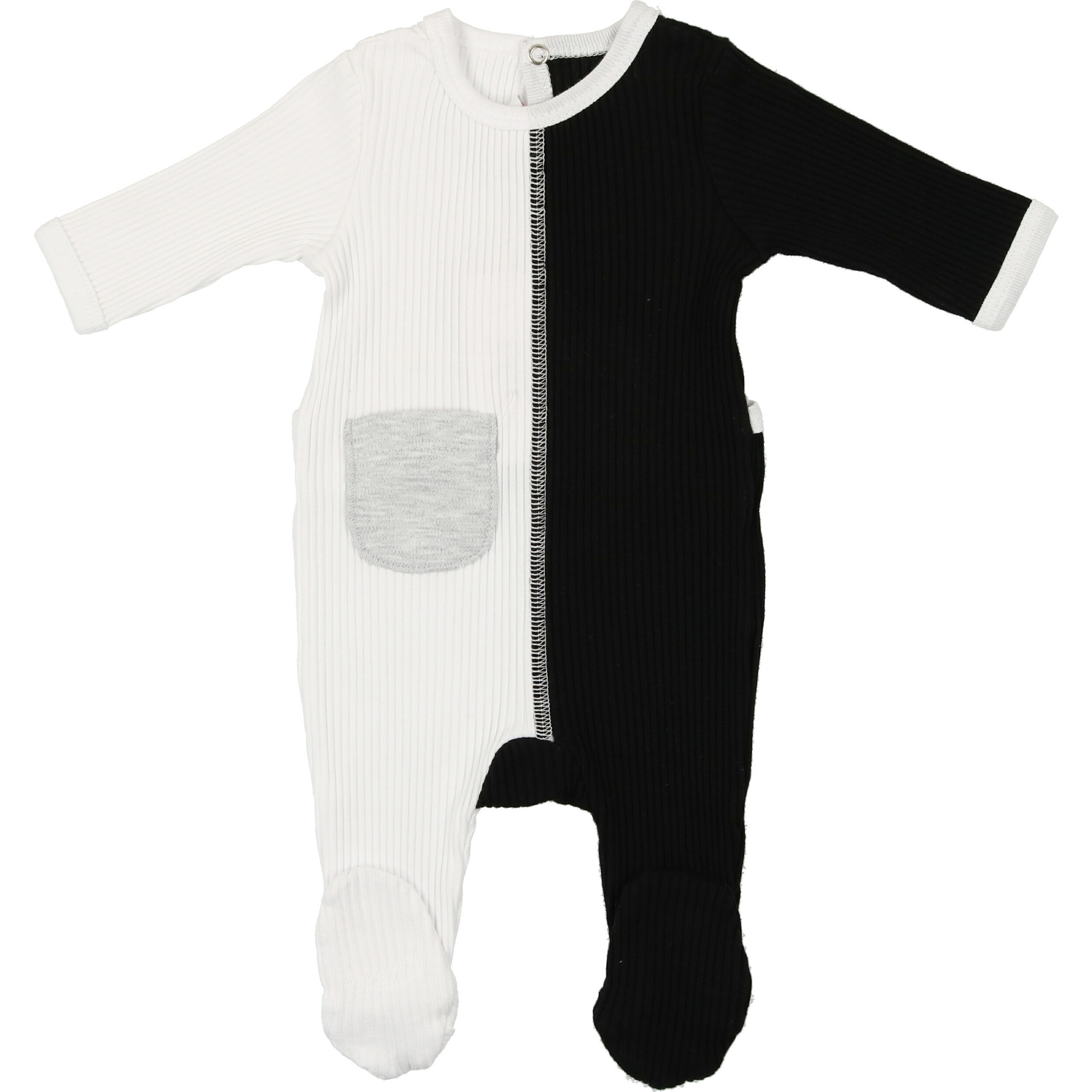 Mon Tresor Bebe J'adore Colors Footie Black and White