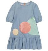 Teela BOTTOM RUFFLE A-LINE Circle Patch Dress bleached denim
