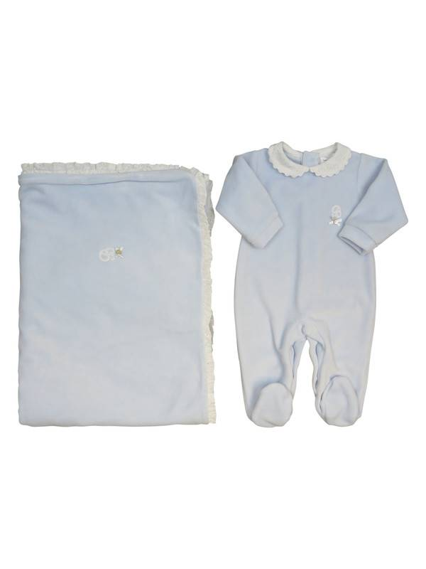 Babidu Blue Stretchie with white collar