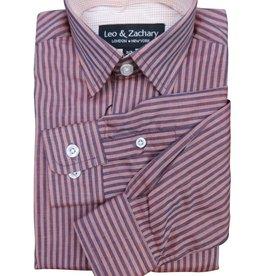 Leo & Zachary Rust Duel Stripe Dress Shirt