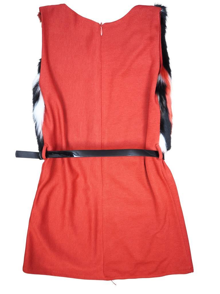 Carlucci long vest w fur