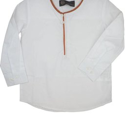 Little Cocoon Piped White Shirt Rust