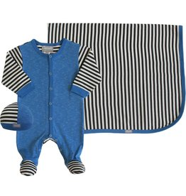Coccoli Cotton Blanket Blue/Grey Stripe
