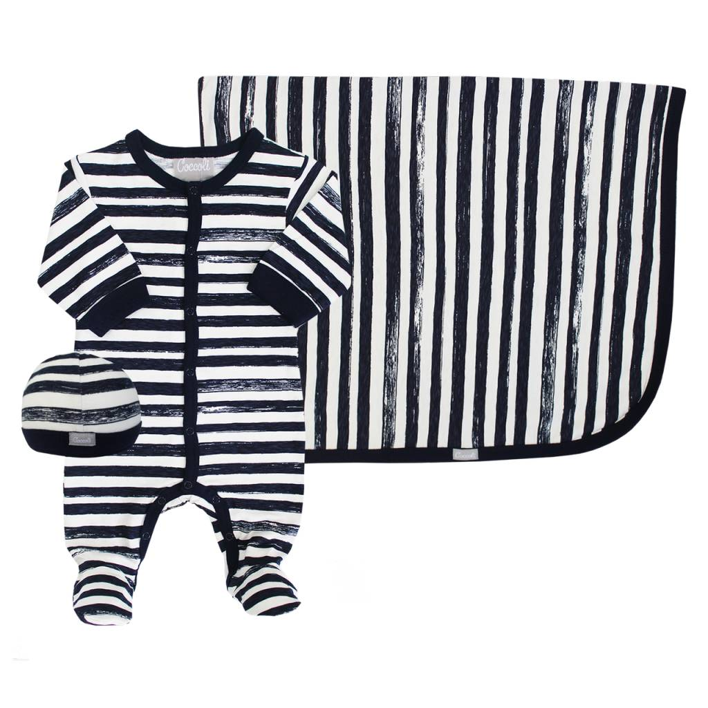 Coccoli Cotton Blanket Navy Striped