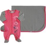 Coccoli Cotton Blanket Pink/Grey Stripe