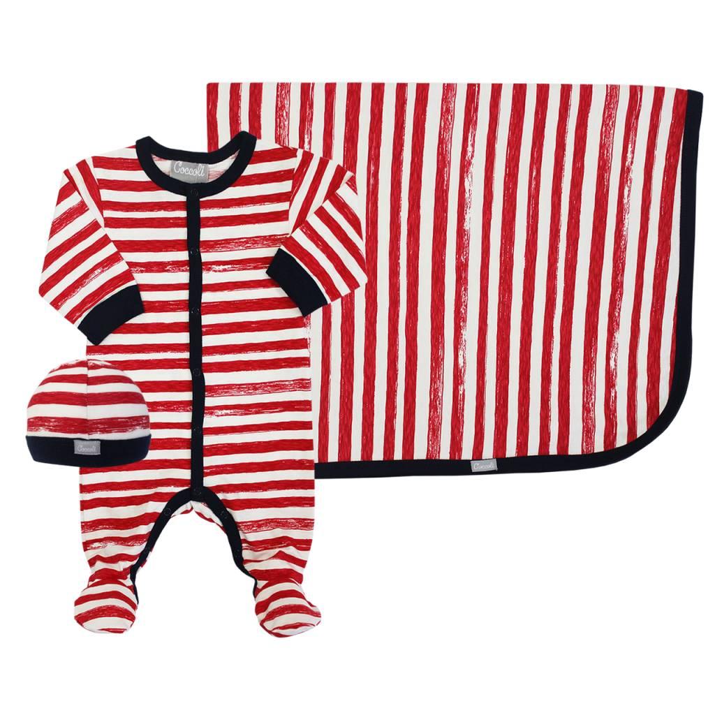 Coccoli Cotton Blanket Red Striped