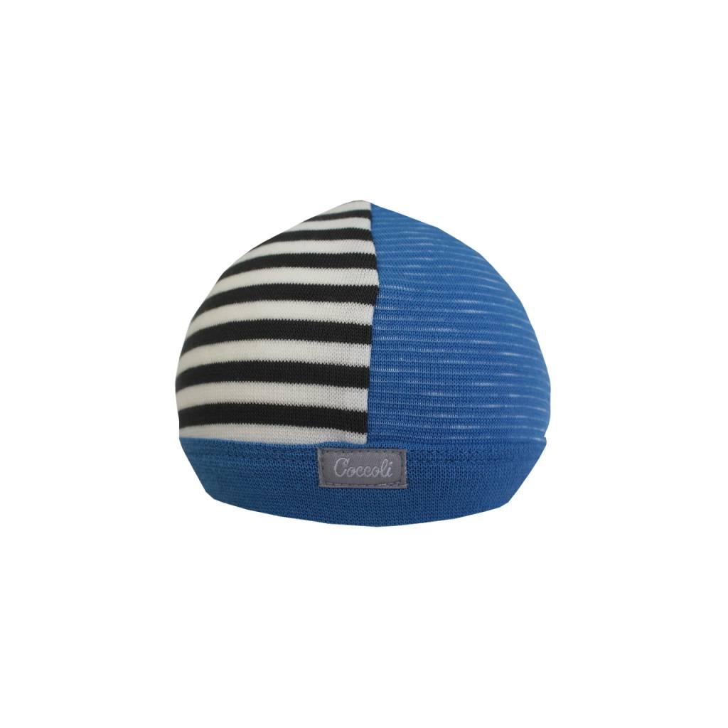 Coccoli Cotton Cap Blue/Grey Stripe