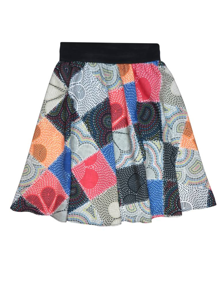 Alitsa Colorful Flower Patch Skirt