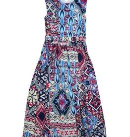 Monalili Aztee Print Criss-Cross Back Dress
