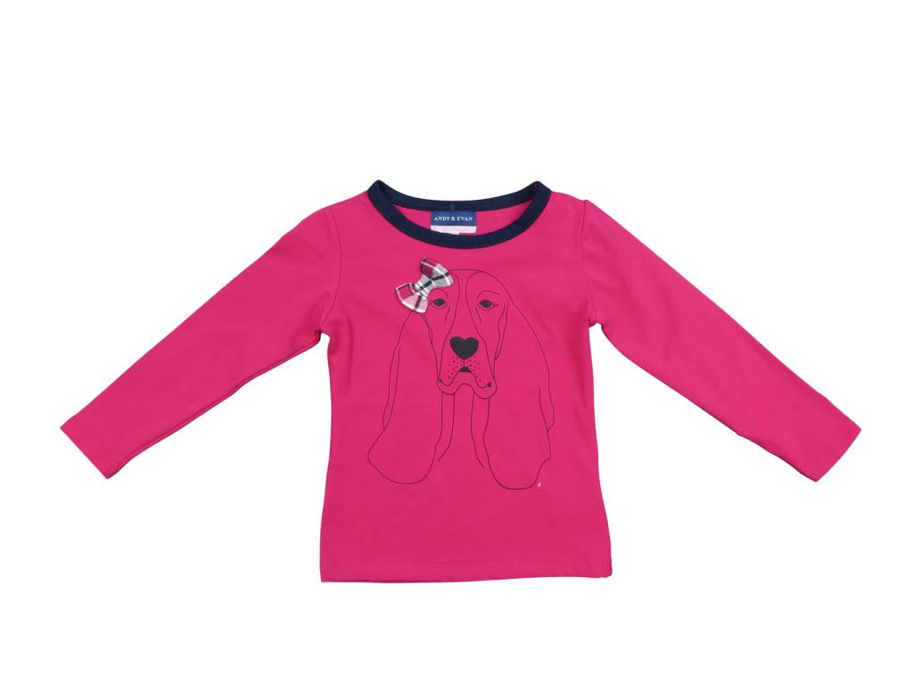 Andy & Evan Hot Pink L/S Hound Tee