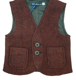 EURO CLUB COLLECTIONS WOOL VEST  WITH ROUND  POCKETS. BURGUNDY
