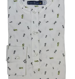 EURO CLUB COLLECTIONS COLLARLESS  SHIRT WITH  LONG LIME