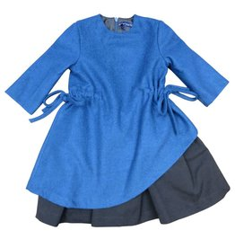 EURO CLUB COLLECTIONS WOOL AND NYLON DRESS,  WITH ASYMMETRIC TEAL