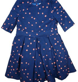 Teela EMA Polka Dot Box Pleat Dress Navy