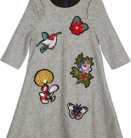 pompomme APPLIQUE DRESS LIGHT GREY