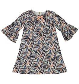 Teela Ruffle Sleeve Geometric Dress Multi