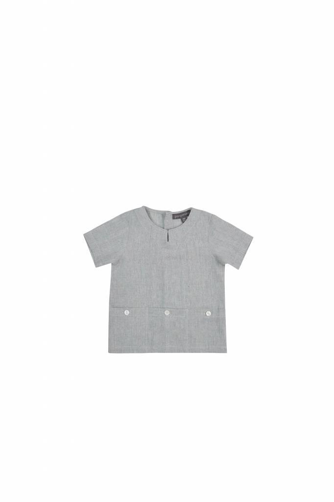 pompomme Boy Bottom Pocket SS Shirt Light Mint