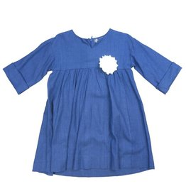 pompomme Girl Yoke with Rushing Dress Blue/White