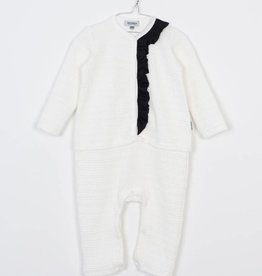 MOTORETA Ruffled Jumpsuit White Textured