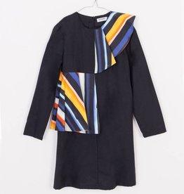 MOTORETA Aina Dress Black & Color Stripes