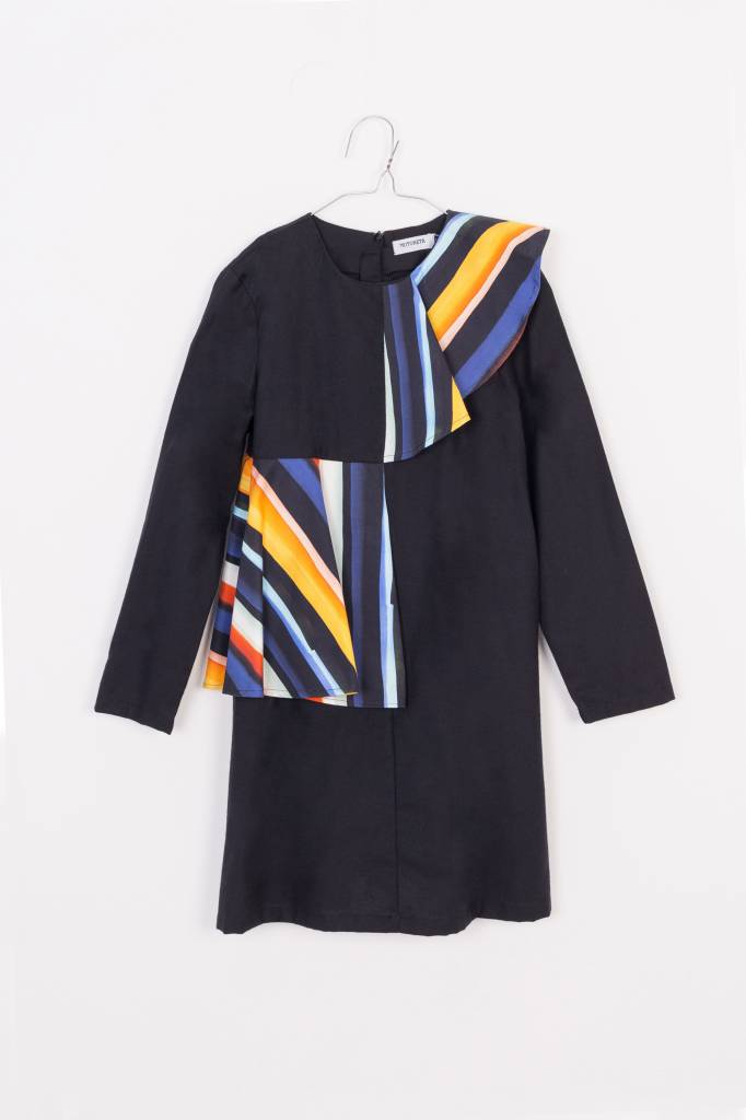 MOTORETA Aina Dress Black & Color Stripes