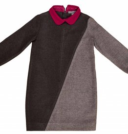 pompomme Girl Color Block Dress Charcoal/Grey/Fushia