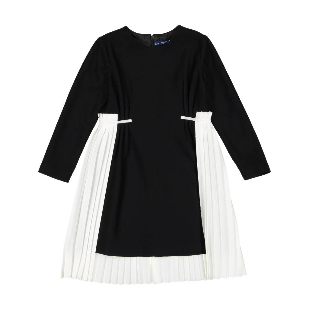 EURO CLUB COLLECTIONS WOOL DRESS WITH PLISOLE OVERLAY BLACK/WHITE
